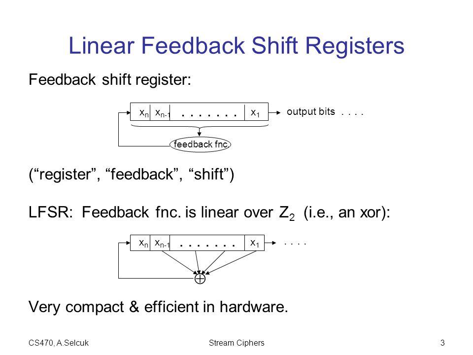CS470, A.SelcukStream Ciphers3 Linear Feedback Shift Registers Feedback shift register: ( register , feedback , shift ) LFSR: Feedback fnc.