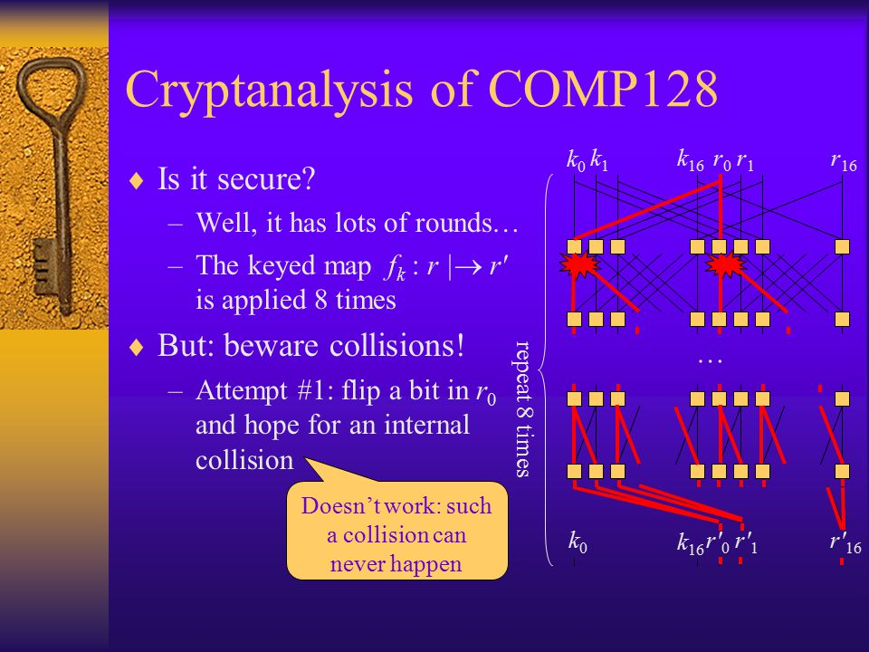 r 16 k0k0 k 16 r0r0 r 16 repeat 8 times r1r1 k1k1 … k0k0 r 0 r 1 k 16 Cryptanalysis of COMP128  Is it secure.