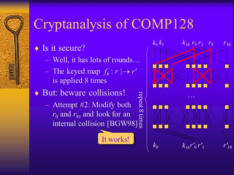 Cryptanalysis of COMP128  Is it secure? –Well, it has lots of rounds… –The keyed map f k : r |  r' is applied 8 times  But: beware collisions! –Att
