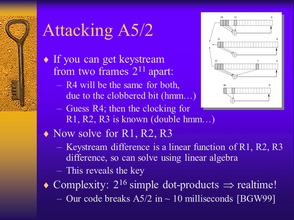 Attacking A5/2  If you can get keystream from two frames 2 11 apart: –R4 will be the same for both, due to the clobbered bit (hmm…) –Guess R4; then t