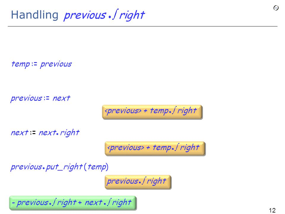 Handling previous  right temp := previous previous := next next := next right previous put_right (temp) + temp  right previous  right - previous  right + next  right 121