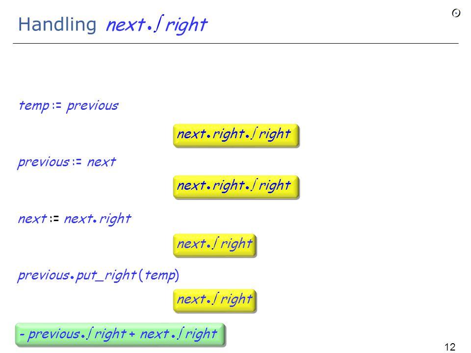 Handling next  right temp := previous previous := next next := next right previous put_right (temp) next  right next right  right next  right - previous  right + next  right 127