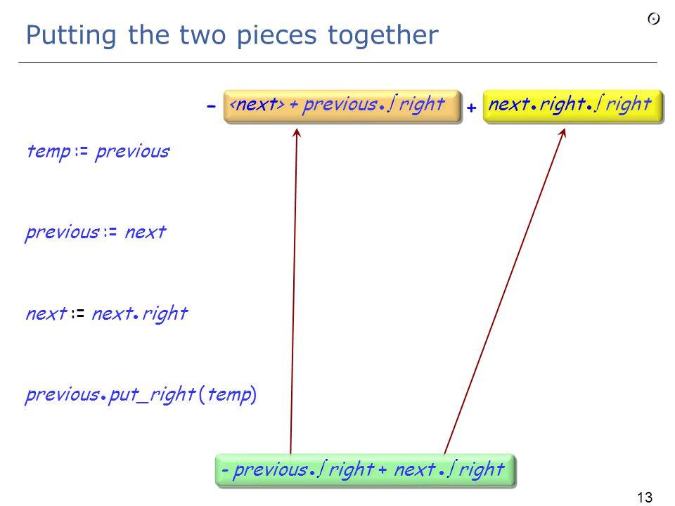 Handling next  right temp := previous previous := next next := next right previous put_right (temp) next  right next right  right next  right next right  right - previous  right + next  right 129