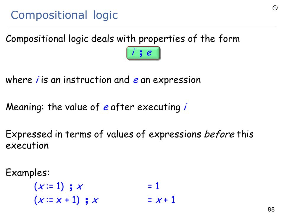 Components of the solution 1.Compositional logic for programming languages 2.Calculus of object structures 3.Inverse variables 4.Alias calculus 5.The proof 87