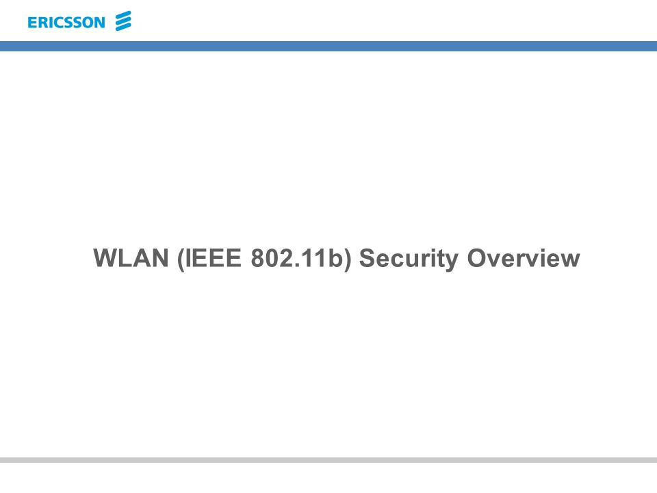 WLAN (IEEE 802.11b) Security Overview