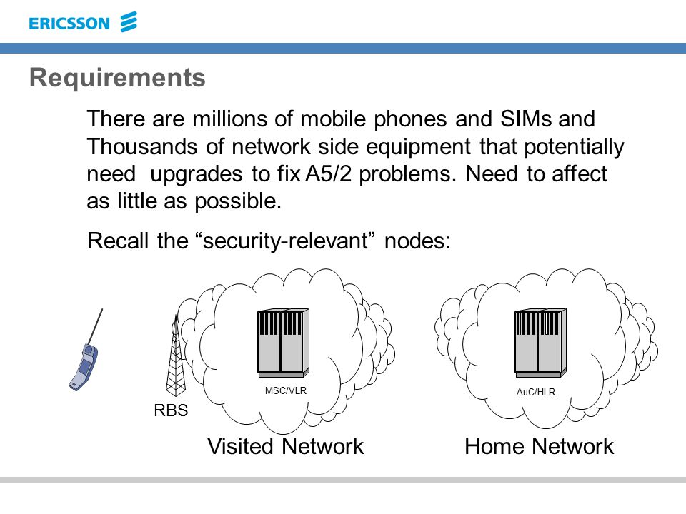 Requirements There are millions of mobile phones and SIMs and Thousands of network side equipment that potentially need upgrades to fix A5/2 problems.