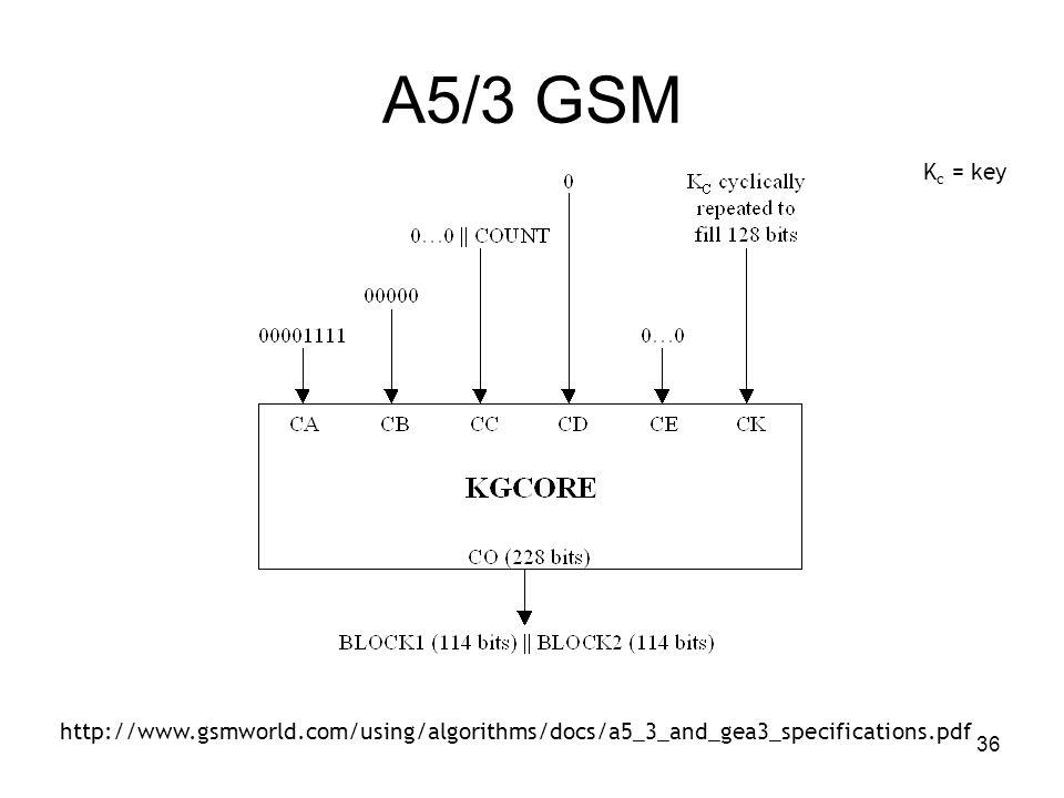 36 A5/3 GSM K c = key http://www.gsmworld.com/using/algorithms/docs/a5_3_and_gea3_specifications.pdf