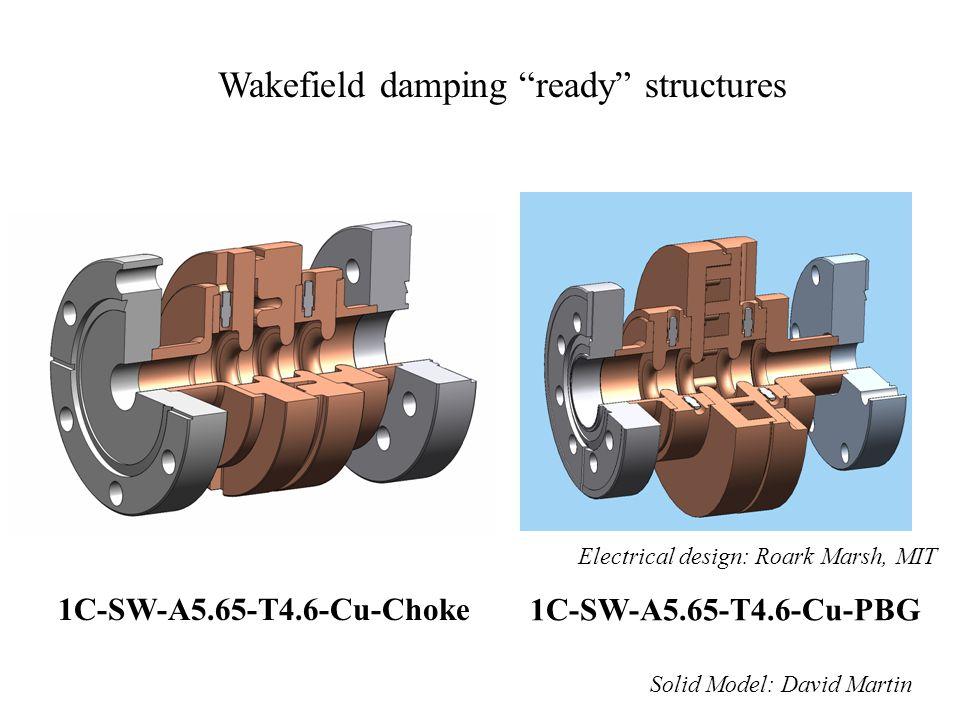 "Wakefield damping ""ready"" structures 1C-SW-A5.65-T4.6-Cu-Choke 1C-SW-A5.65-T4.6-Cu-PBG Electrical design: Roark Marsh, MIT Solid Model: David Martin"