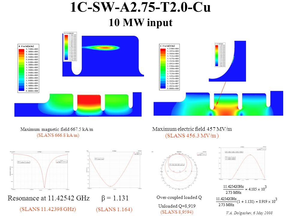 1C-SW-A2.75-T2.0-Cu 10 MW input Over-coupled loaded Q Resonance at 11.42542 GHzβ = 1.131 Maximum magnetic field 667.5 kA/m (SLANS 666.8 kA/m) Maximum