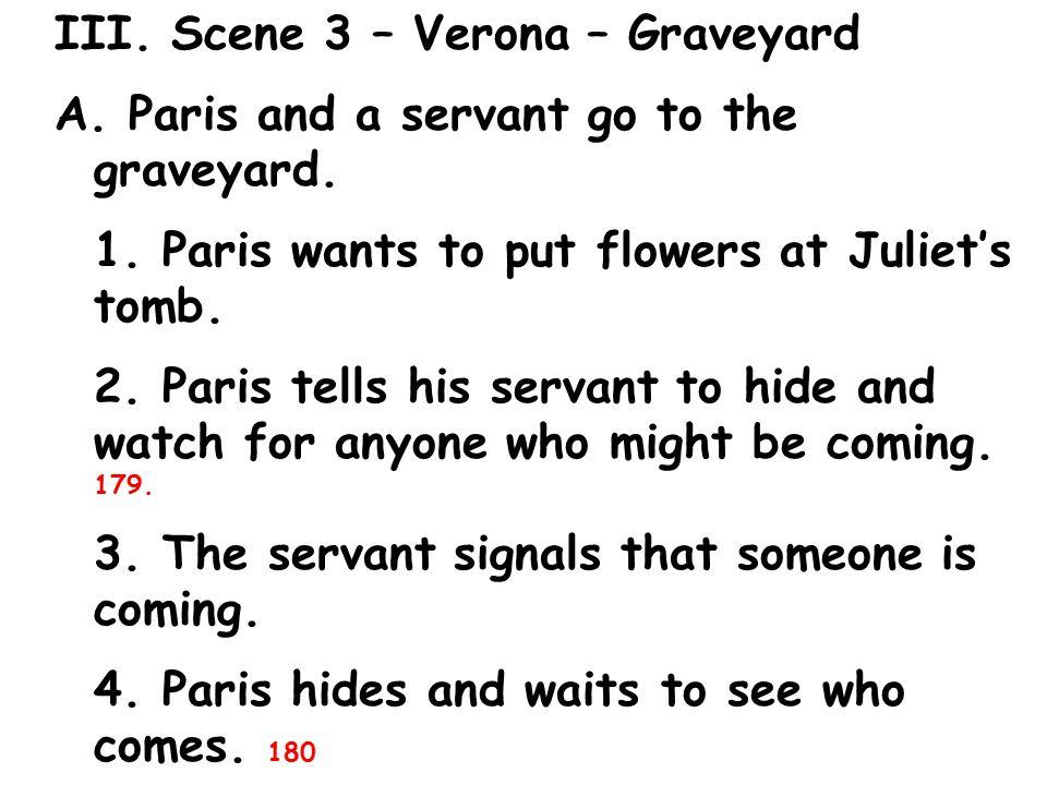 III. Scene 3 – Verona – Graveyard A. Paris and a servant go to the graveyard.
