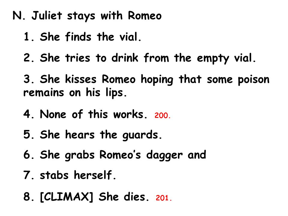 N. Juliet stays with Romeo 1. She finds the vial.