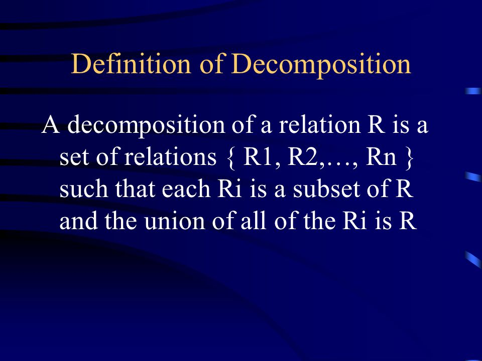 Definition of Decomposition A decomposition of a relation R is a set of relations { R1, R2,…, Rn } such that each Ri is a subset of R and the union of