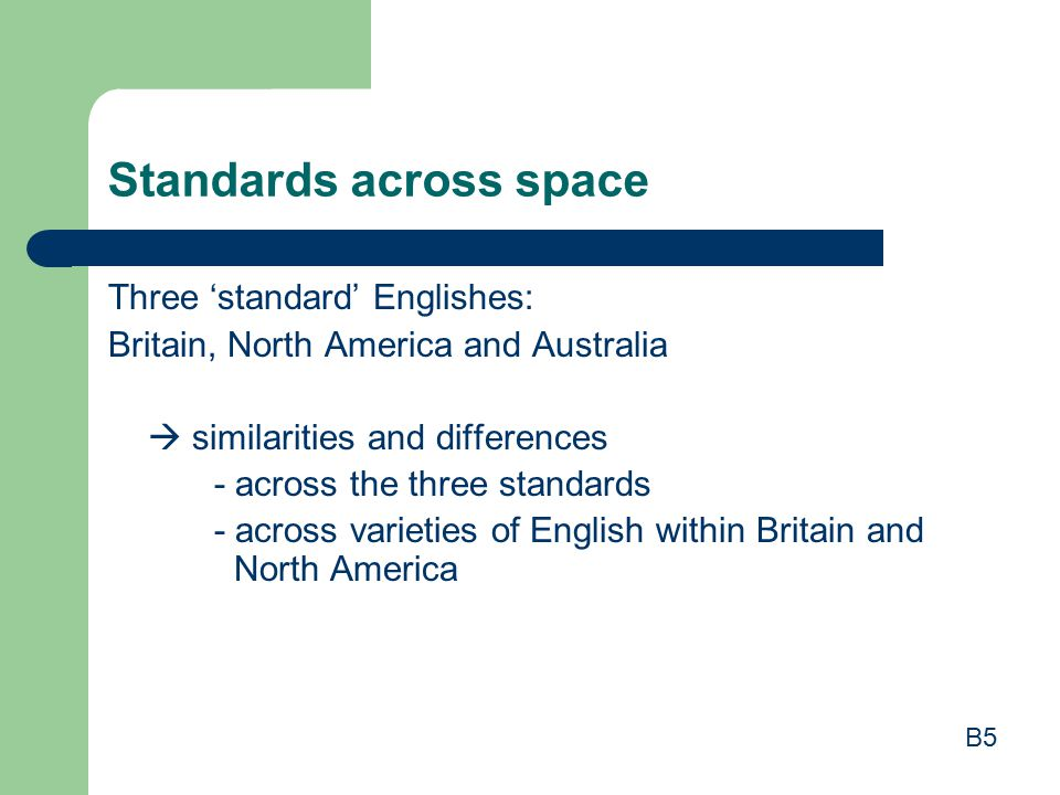Standards across space Three 'standard' Englishes: Britain, North America and Australia  similarities and differences - across the three standards - across varieties of English within Britain and North America B5