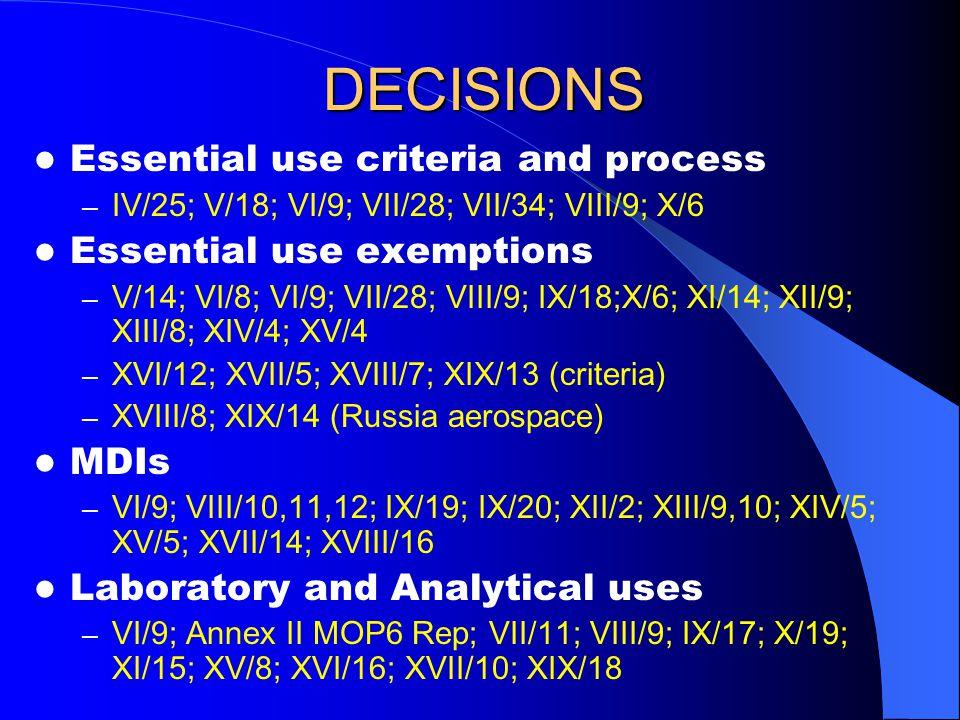 DECISIONS Essential use criteria and process – IV/25; V/18; VI/9; VII/28; VII/34; VIII/9; X/6 Essential use exemptions – V/14; VI/8; VI/9; VII/28; VIII/9; IX/18;X/6; XI/14; XII/9; XIII/8; XIV/4; XV/4 – XVI/12; XVII/5; XVIII/7; XIX/13 (criteria) – XVIII/8; XIX/14 (Russia aerospace) MDIs – VI/9; VIII/10,11,12; IX/19; IX/20; XII/2; XIII/9,10; XIV/5; XV/5; XVII/14; XVIII/16 Laboratory and Analytical uses – VI/9; Annex II MOP6 Rep; VII/11; VIII/9; IX/17; X/19; XI/15; XV/8; XVI/16; XVII/10; XIX/18