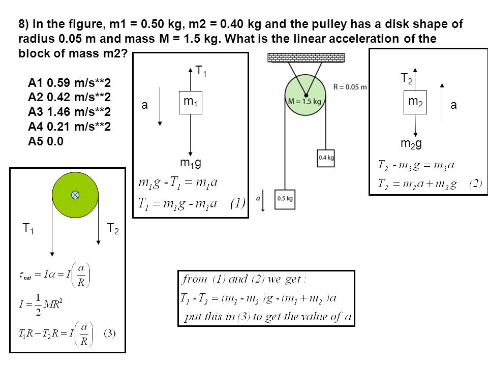 8) In the figure, m1 = 0.50 kg, m2 = 0.40 kg and the pulley has a disk shape of radius 0.05 m and mass M = 1.5 kg.