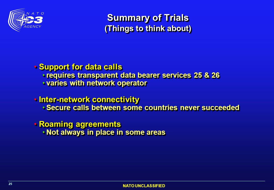 NATO UNCLASSIFIED 25 Summary of Trials (Things to think about) Support for data callsSupport for data calls requires transparent data bearer services