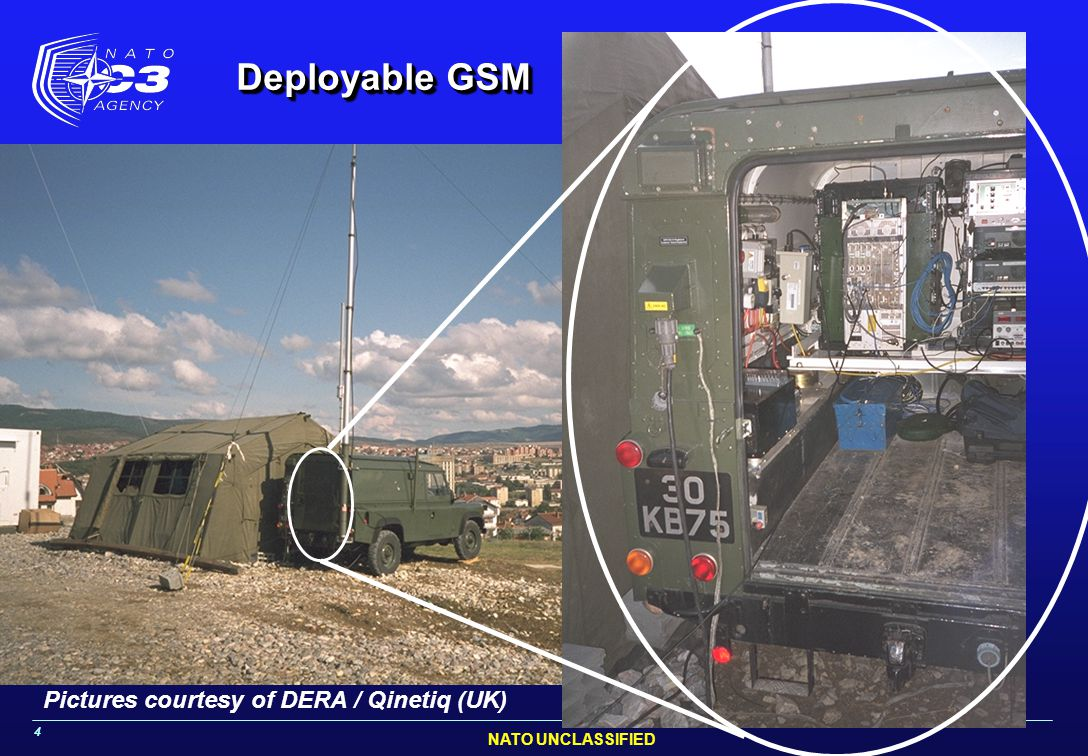 NATO UNCLASSIFIED 4 Pictures courtesy of DERA / Qinetiq (UK) Deployable GSM