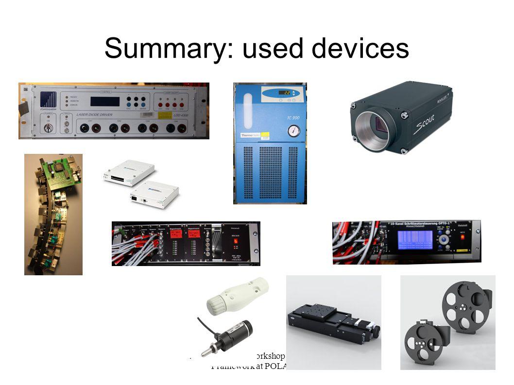 A. Kessler, CS-Workshop 2012, CS- Framework at POLARIS 18 Summary: used devices