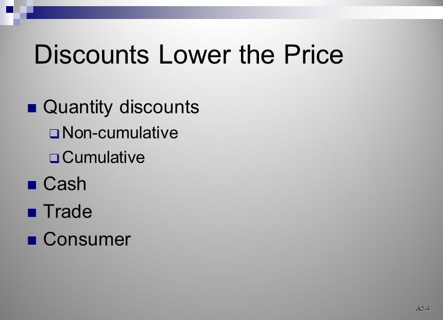 Discounts Lower the Price Quantity discounts  Non-cumulative  Cumulative Cash Trade Consumer A5-4