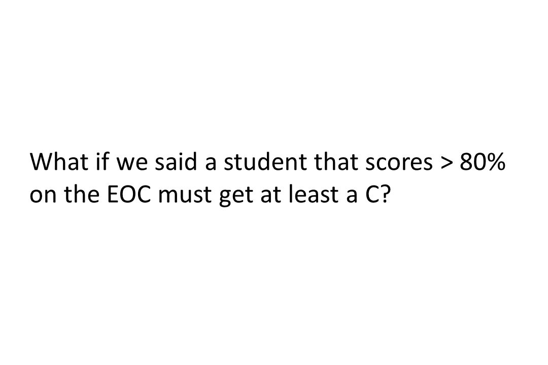 What if we said a student that scores > 80% on the EOC must get at least a C?