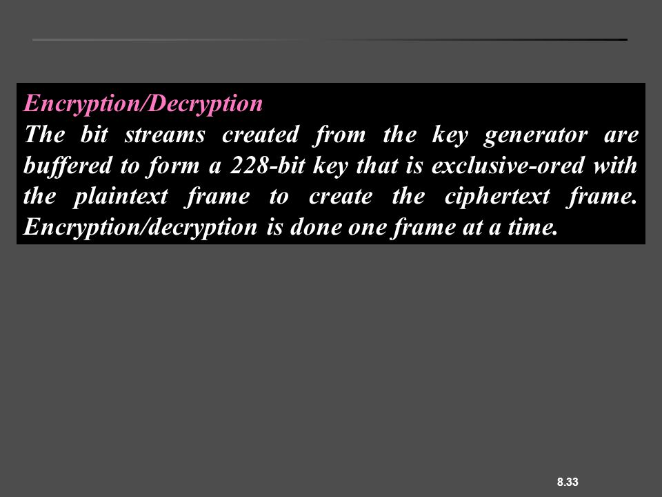 8.33 Encryption/Decryption The bit streams created from the key generator are buffered to form a 228-bit key that is exclusive-ored with the plaintext frame to create the ciphertext frame.