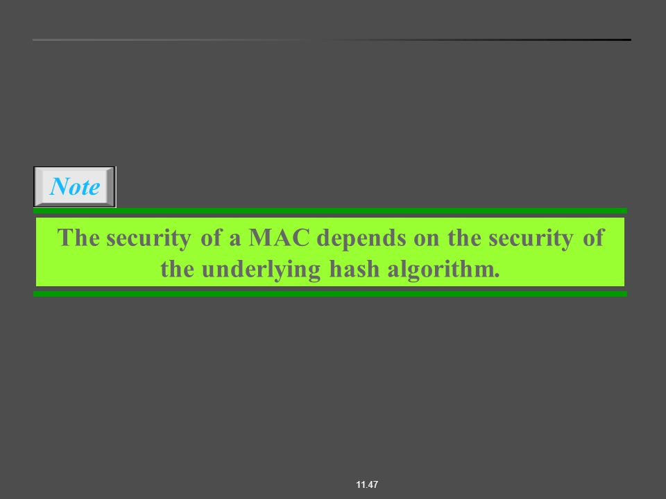 11.47 The security of a MAC depends on the security of the underlying hash algorithm. Note