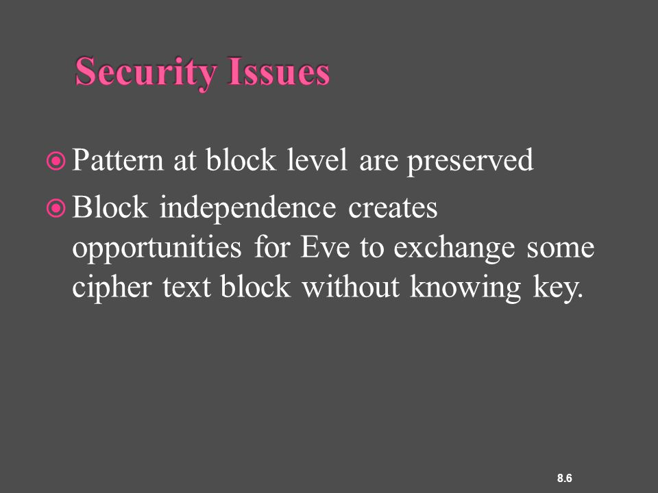  Pattern at block level are preserved  Block independence creates opportunities for Eve to exchange some cipher text block without knowing key.