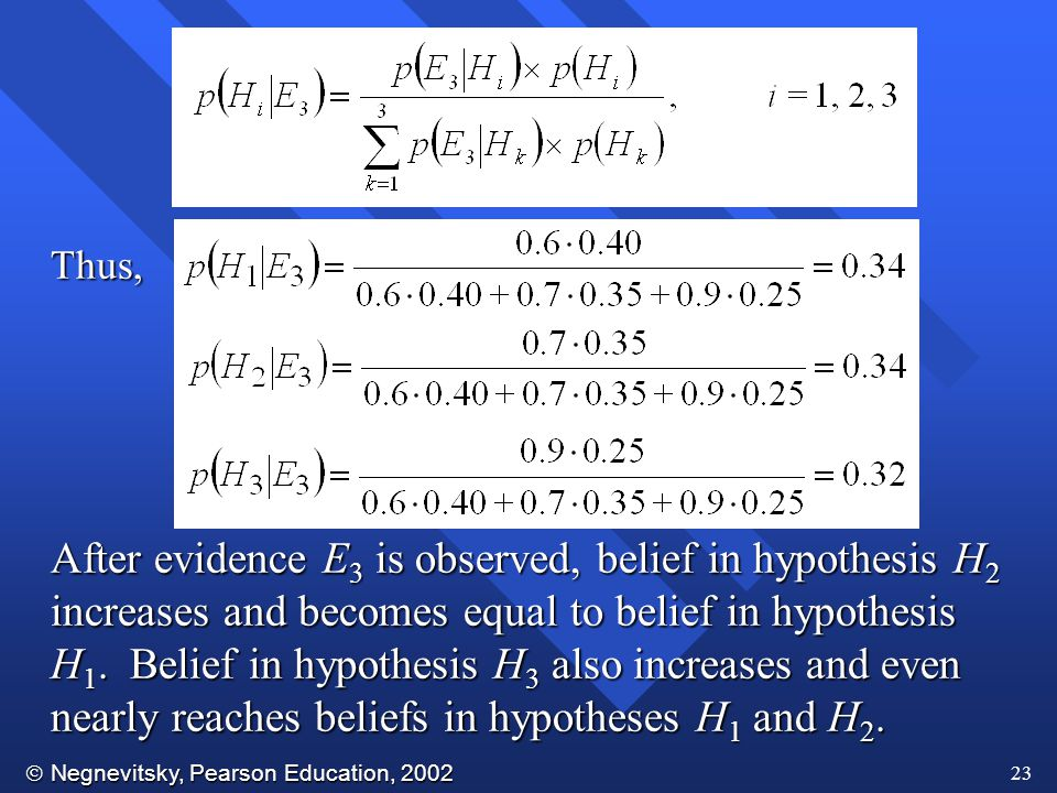  Negnevitsky, Pearson Education, 2002 23 Thus, After evidence E 3 is observed, belief in hypothesis H 2 increases and becomes equal to belief in hypothesis H 1.