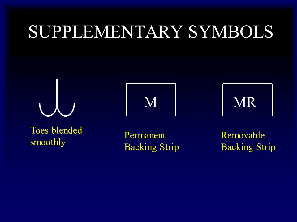 SUPPLEMENTARY SYMBOLS Toes blended smoothly Permanent Backing Strip M Removable Backing Strip MR