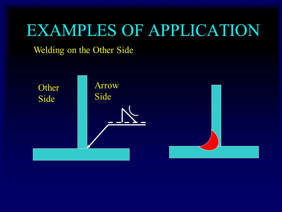 EXAMPLES OF APPLICATION Welding on the Other Side Other Side Arrow Side