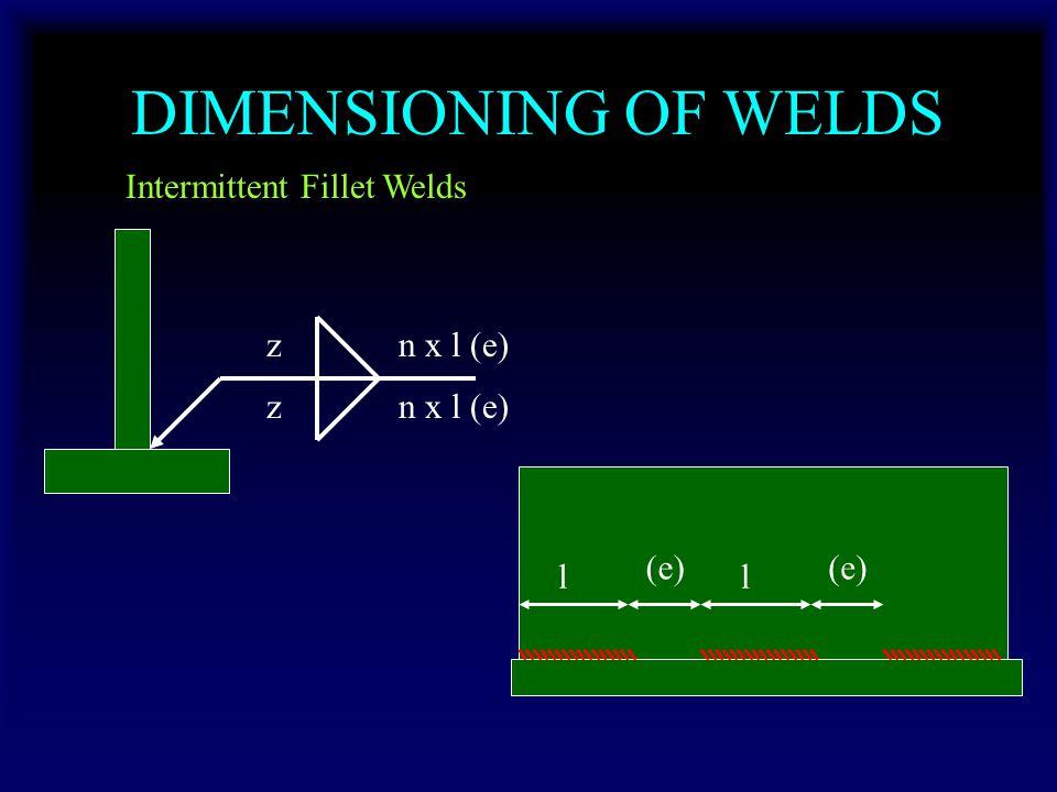 DIMENSIONING OF WELDS Intermittent Fillet Welds l (e) l zn x l (e) z