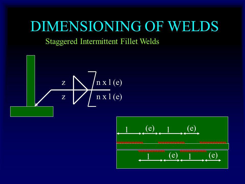 DIMENSIONING OF WELDS Staggered Intermittent Fillet Welds zn x l (e) z l (e) l l l