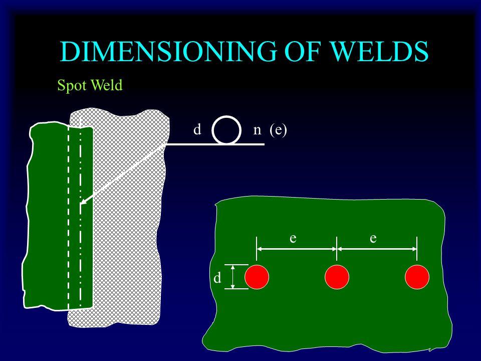 DIMENSIONING OF WELDS Spot Weld dn (e) d ee