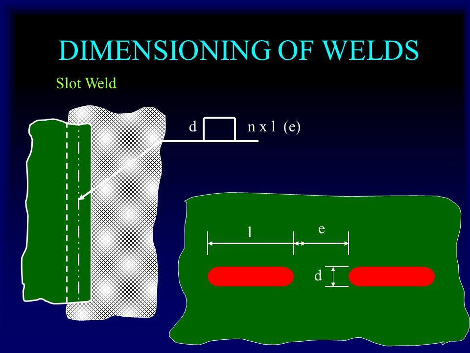 DIMENSIONING OF WELDS Slot Weld dn x l (e) d l e