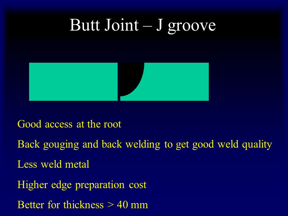 Butt Joint – J groove Good access at the root Back gouging and back welding to get good weld quality Less weld metal Higher edge preparation cost Better for thickness > 40 mm