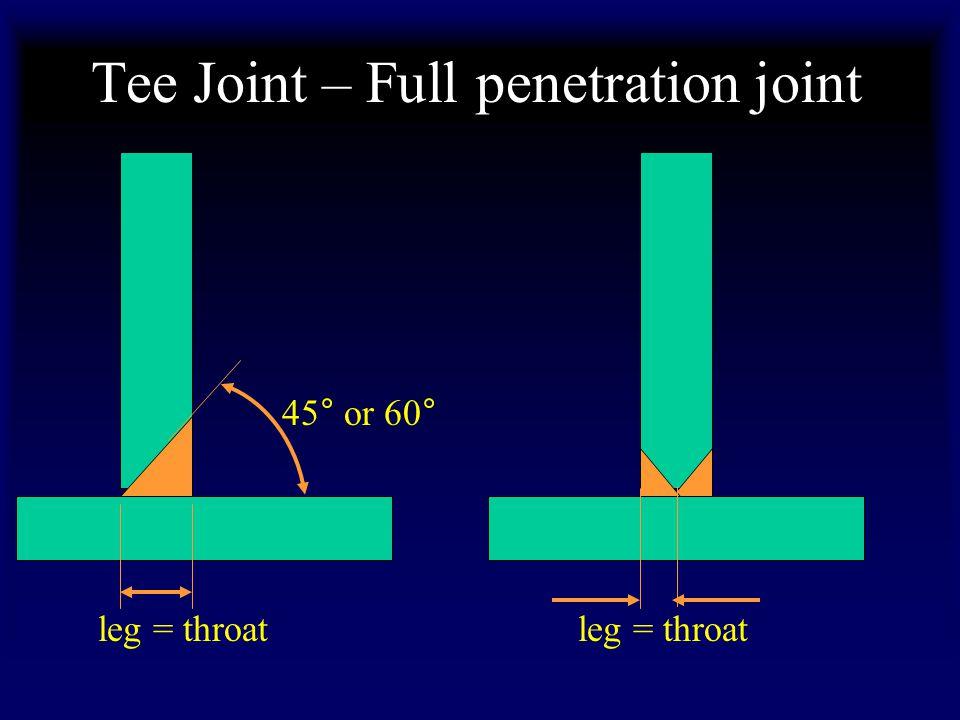 Tee Joint – Full penetration joint leg = throat 45° or 60°
