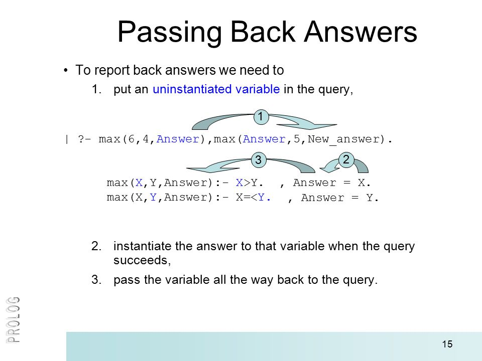 15 Passing Back Answers To report back answers we need to 1.put an uninstantiated variable in the query, | ?- max(6,4,Answer),max(Answer,5,New_answer).