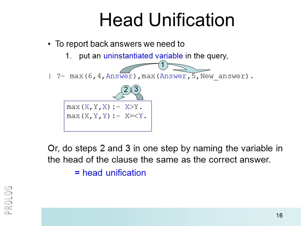 16 Head Unification To report back answers we need to 1.put an uninstantiated variable in the query, | - max(6,4,Answer),max(Answer,5,New_answer).