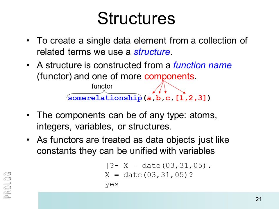 21 Structures To create a single data element from a collection of related terms we use a structure.