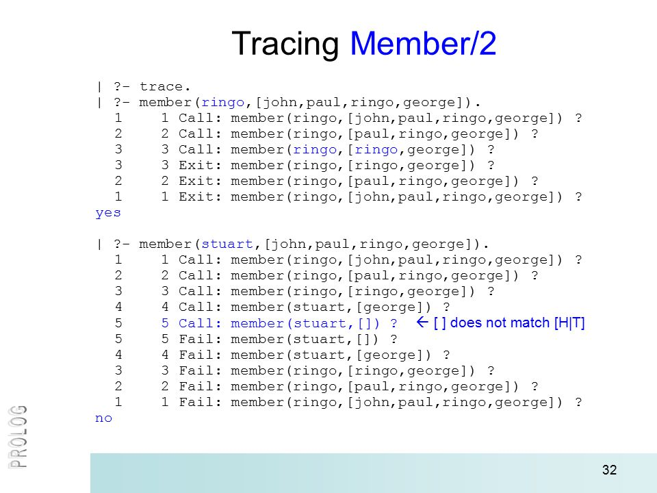 32 | ?- trace. | ?- member(ringo,[john,paul,ringo,george]).