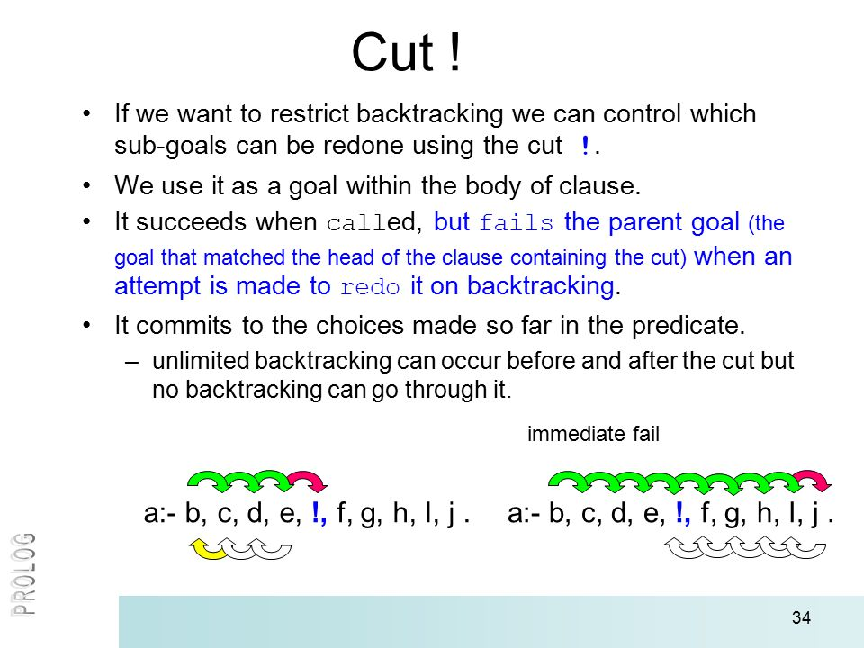 34 Cut ! If we want to restrict backtracking we can control which sub-goals can be redone using the cut !. We use it as a goal within the body of clau