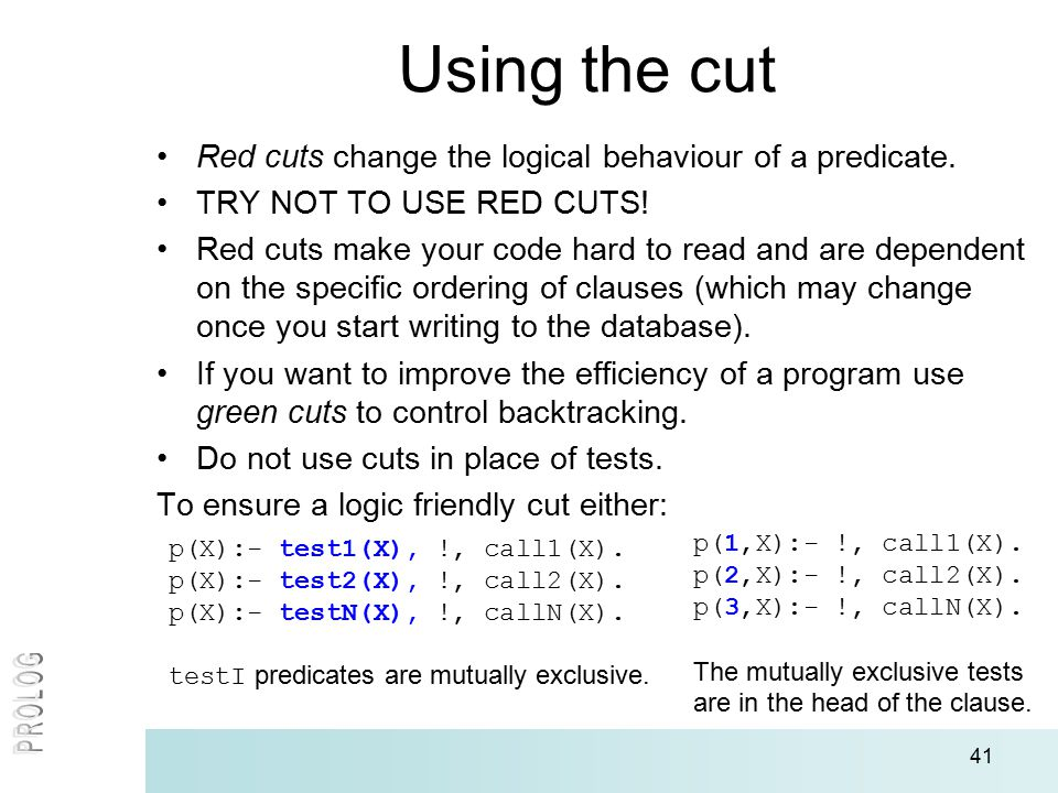 41 Using the cut Red cuts change the logical behaviour of a predicate.