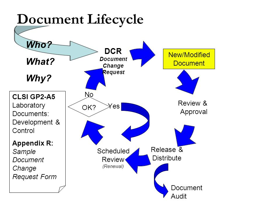 Document Lifecycle OK. New/Modified Document No Yes Document Audit Who.