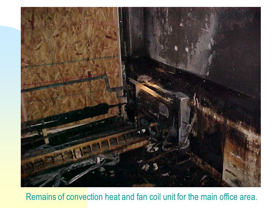 Remains of convection heat and fan coil unit for the main office area.