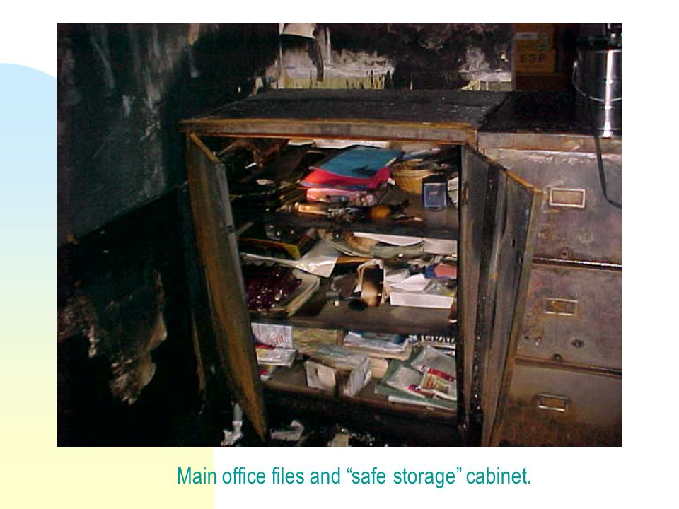 Main office files and safe storage cabinet.