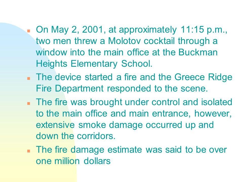 Classroom floor showing smoke damage.