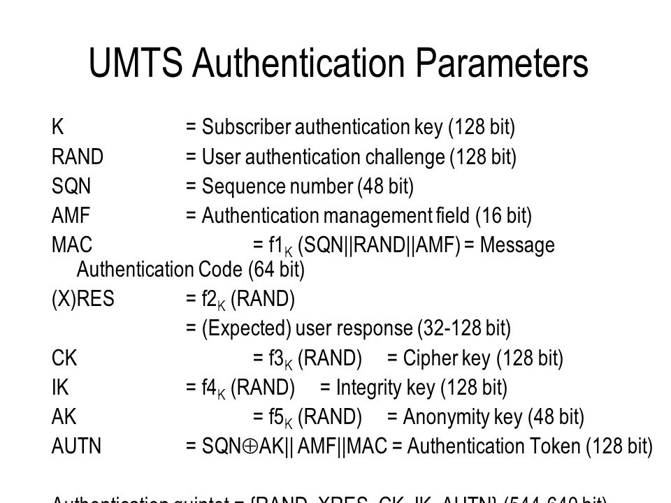 UMTS Mutual Authentication Algorithm Located in the customer's USIM and in the home network's AuC Standardisation not required and each operator can choose their own An example algorithm, called MILENAGE, has been made available –open design and evaluation by ETSI's algorithm design group, SAGE –open publication of specifications and evaluation reports –based on Rijndael which was later selected as the AES