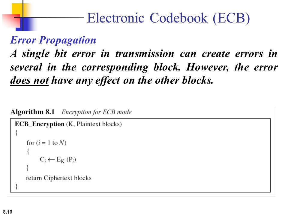8.10 Error Propagation A single bit error in transmission can create errors in several in the corresponding block. However, the error does not have an