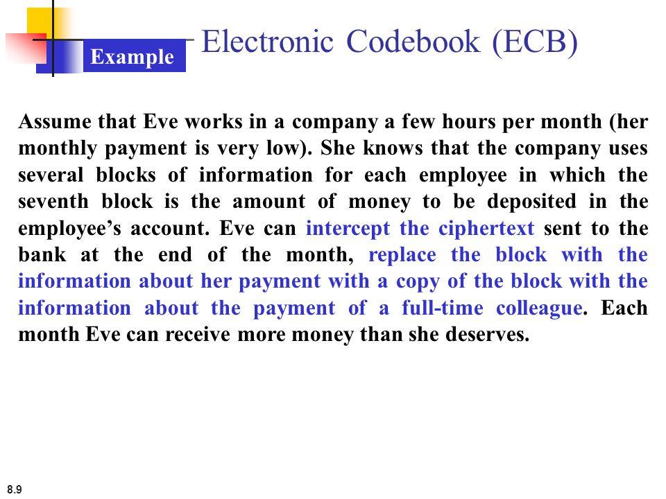 8.10 Error Propagation A single bit error in transmission can create errors in several in the corresponding block.