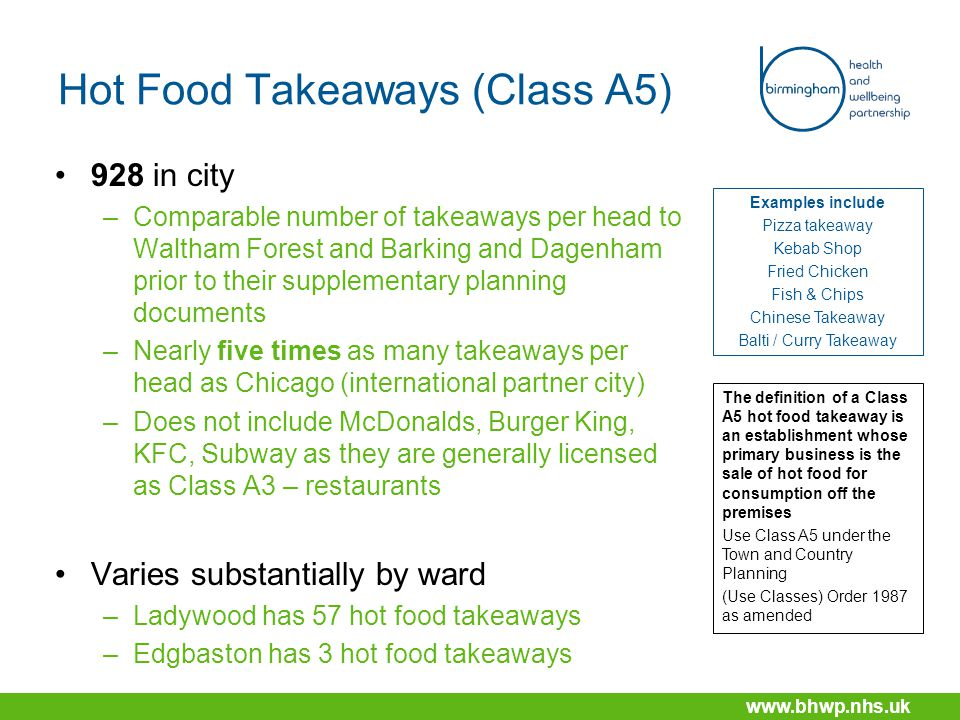www.bhwp.nhs.uk Hot Food Takeaways (Class A5) 928 in city –Comparable number of takeaways per head to Waltham Forest and Barking and Dagenham prior to